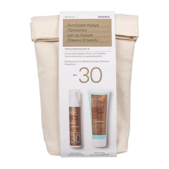 Korres Sunscreen PROMO Red Grape Antiaging/Antispot Matte Tinted Cream SPF30+ 50ml + After Sun 125ml