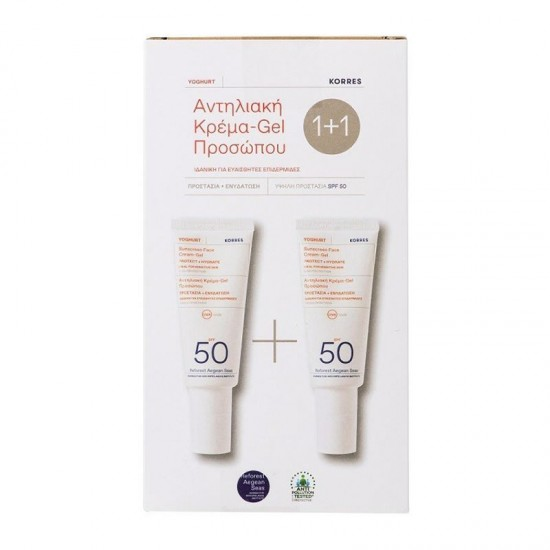 Korres Sunscreen PROMO Yoghurt Face Cream-Gel SPF50+ 2x40ml