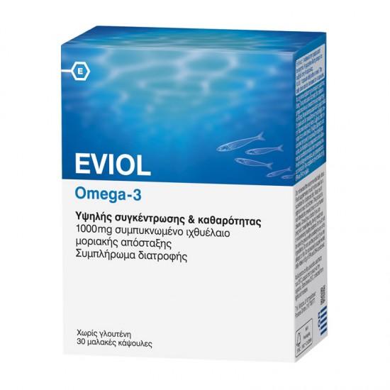 Eviol Omega-3 30 Κάψουλες - Συμπλήρωμα Διατροφής με Ωμέγα-3 Πολυακόρεστα Οξέα