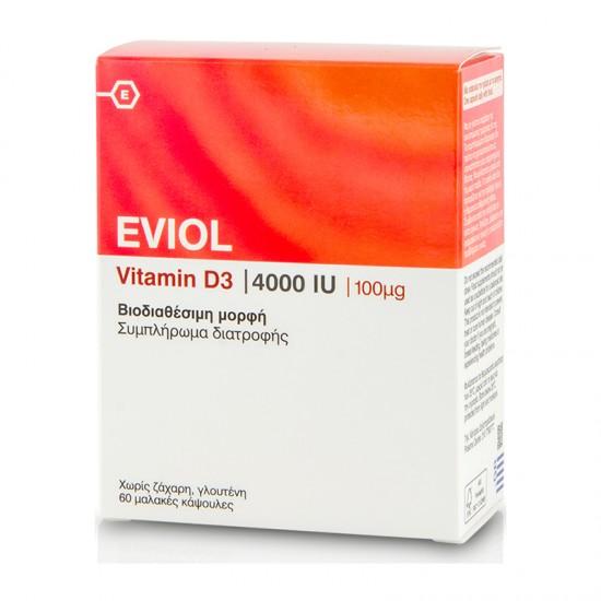 Eviol Vitamin D3 4000IU 100μg 60 Κάψουλες - Συμπλήρωμα Διατροφής με Βιταμίνη D3 για Στήριξη Σώματος και Δυνατά Οστά