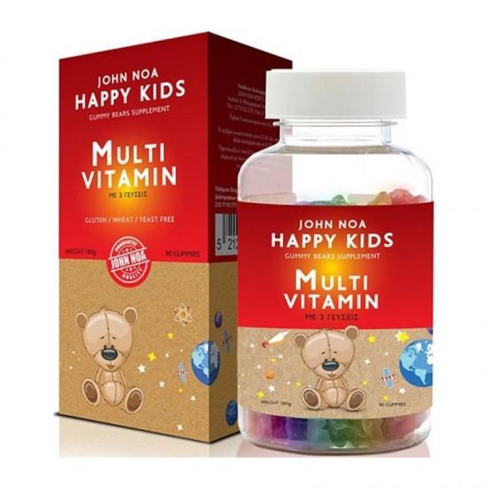 John Noa Happy Kids MultiVitamin 90 Ζελεδάκια - Συμπλήρωμα Διατροφής Πολυβιταμίνης για Παιδιά 3+ Ετών με Γεύσεις Φράουλα, Πορτοκάλι και Μιξ Σταφυλιών
