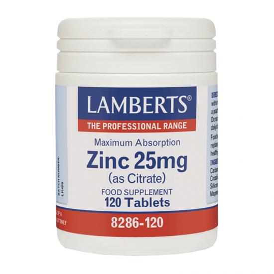 Lamberts Zinc 25mg (As Citrate) 120 Ταμπλέτες - Συμπλήρωμα Διατροφής με Ψευδάργυρο