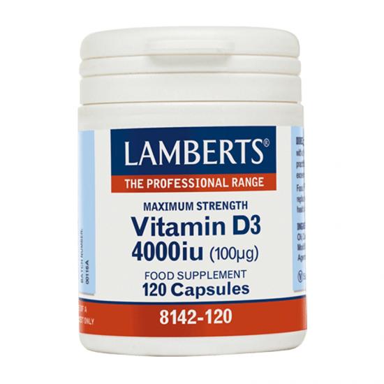 Lamberts Vitamin D3 4000IU (100μg) 120 Κάψουλες - Συμπλήρωμα Διατροφής Βιταμίνης D3 για Ενίσχυση Ανοσοποιητικού & Οστών