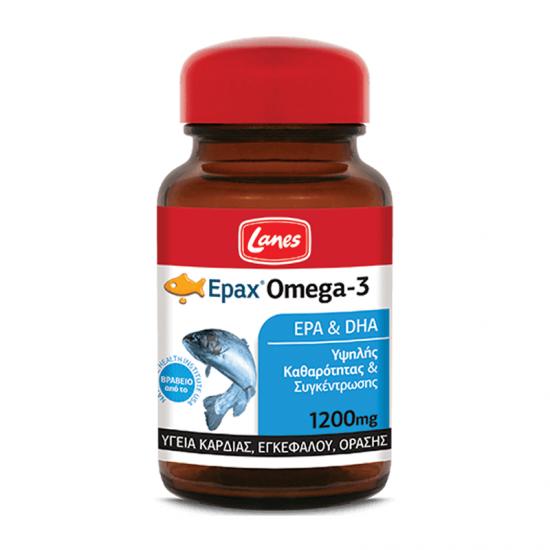 Lanes Epax Omega-3 1200mg 30 Κάψουλες - Συμπλήρωμα Διατροφής με Ωμέγα-3 για την Υγεία Καρδιάς, Εγκεφάλου & Όρασης