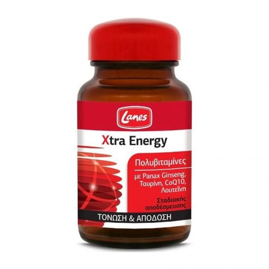 Lanes Xtra Energy 30 Ταμπλέτες Σταδιακής Αποδέσμευσης - Συμπλήρωμα Διατροφής Πολυβιταμίνης με Ginseng, Ταυρίνη, Λουτεΐνη & Συνένζυμο Q10 για Τόνωση & Απόδοση