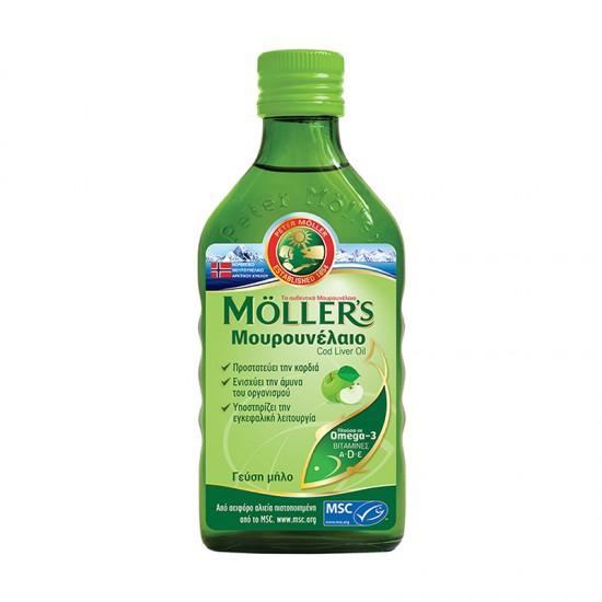Moller's Μουρουνέλαιο Υγρό Apple με Γεύση Μήλο 250ml - Κατάλληλο για Ενήλικες και Παιδιά από 6 μηνών