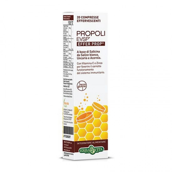 Naturalia Health Erba Vita Propoli EVSP Effer Prop 20 Αναβράζοντα Δισκία με Πρόπολη, Βιταμίνη C & Ψευδάργυρο με Γεύση