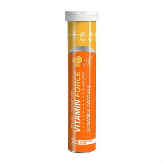 Naturalia Health Vitamin Force Vitamin C 1000mg 20 Αναβράζοντα Δισκία Βιταμίνης C με Γεύση Πορτοκάλι