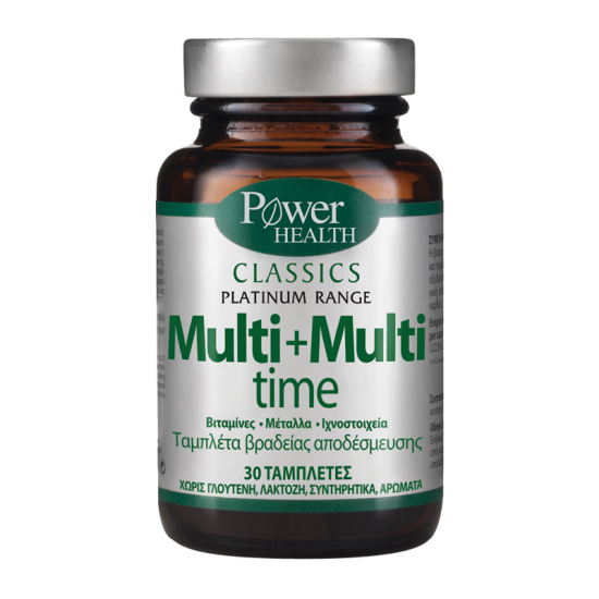 Power Health Platinum Range Multi+Multi Time 30 Ταμπλέτες - Συμπλήρωμα Διατροφής Πολυβιταμίνης Βραδείας Αποδέσμευσης