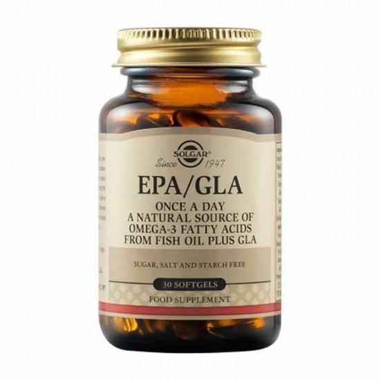 Solgar One-A-Day EPA/GLA  Συμπλήρωμα διατροφής που παρέχει GLA, ωμέγα-3 (EPA και DHΑ) από ιχθυέλαια και βιταμίνη Ε από σόγια, χρήσιμο για την καρδιαγγειακή υγεία, για υγιές δέρμα,30Softgels.